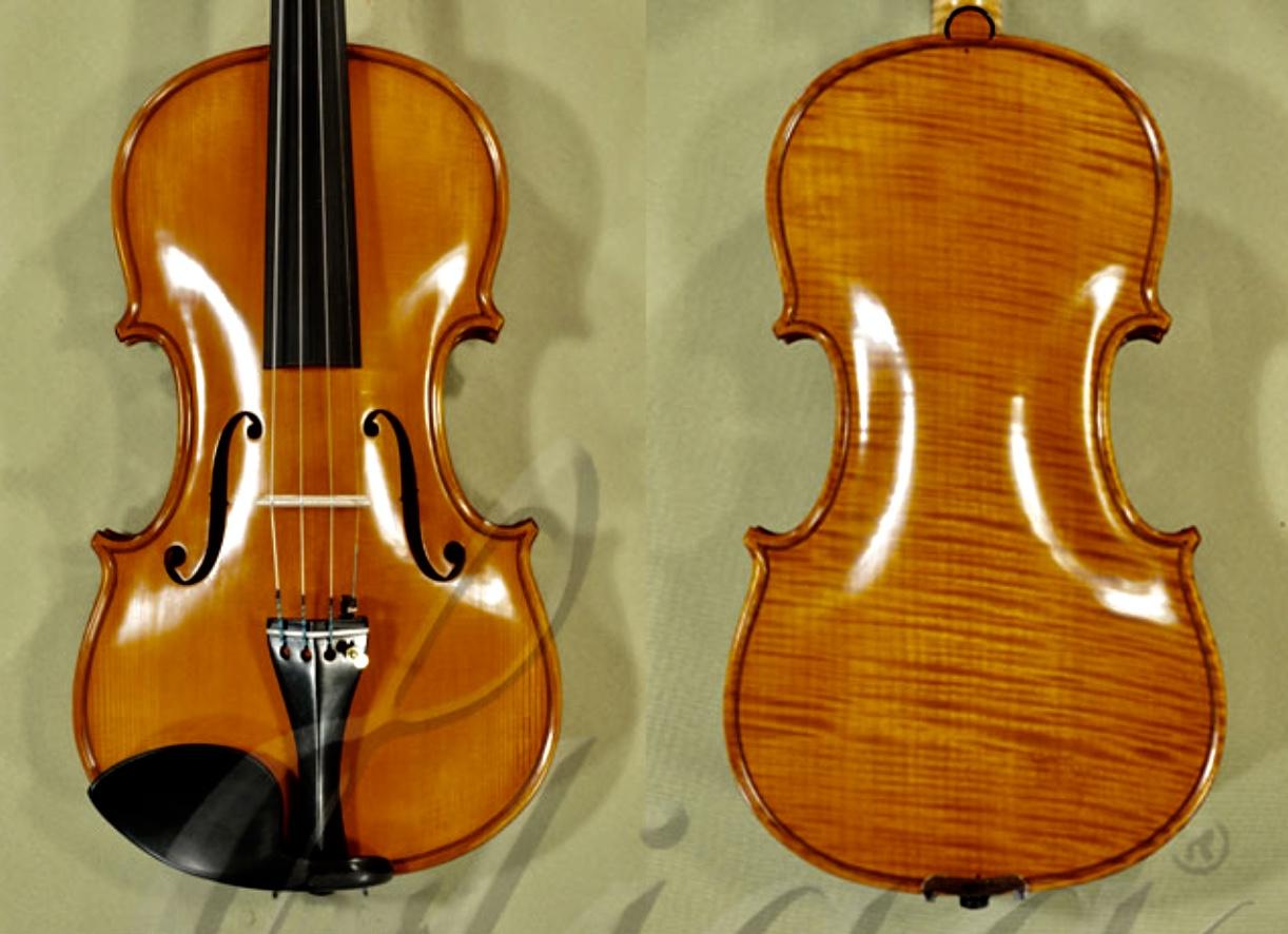 4/4 MAESTRO VASILE GLIGA Inlaid Relief Wood Carving 'Lion' Scroll One Piece Back Violin - Code C7941V